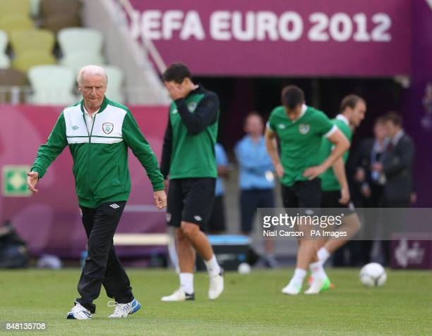 Republic of Ireland manager Giovanni Trapattoni during a training session at the PGE Arena Gdansk Poland