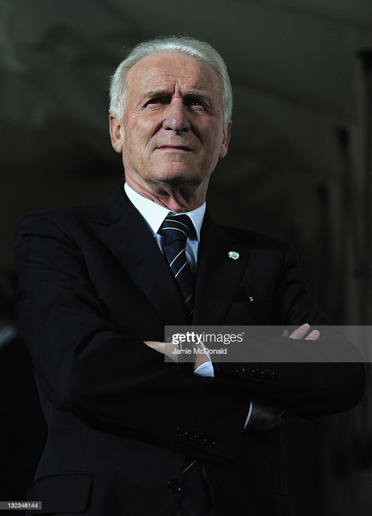 Republic of Ireland manager <a gi-track='captionPersonalityLinkClicked' href=/galleries/search?phrase=Giovanni+Trapattoni&family=editorial&specificpeople=209002 ng-click='$event.stopPropagation()'>Giovanni Trapattoni</a> looks on during the Estonia and Republic of Ireland, EURO 2012 qualifier, play off first leg at the A Le Coq Arena on November 11, 2011 in Tallinn, Estonia.