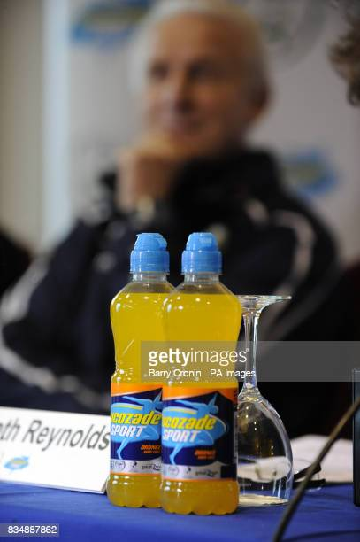 Republic of Ireland manager Giovanni Trapattoni sits behind two bottles of Lucozade Sport during a press conference to announce a sponsorship...