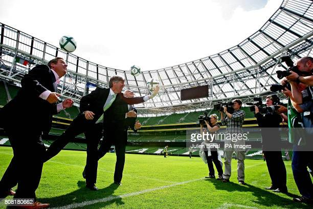 Republic of Ireland manager Giovanni Trapattoni with FAI CEO John Delaney and 3 CEO Robert Finnegan during the announcement that mobile network...
