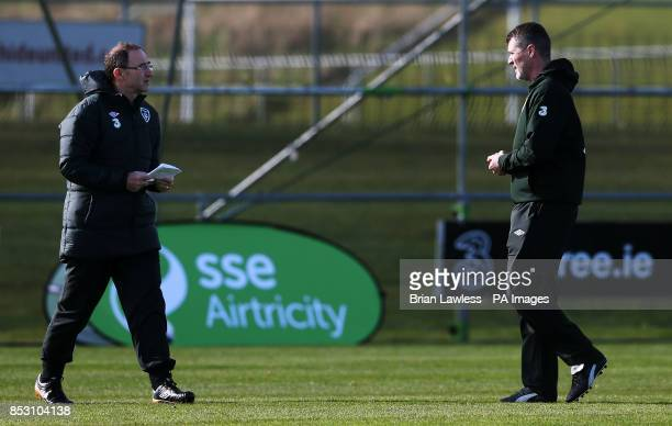 Republic of Ireland manager Martin O'Neill and assistant manager Roy Keane during a training session at Gannon Park Malahide Ireland