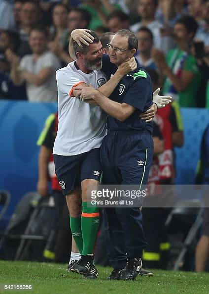 Republic of Ireland manager Martin O'Neill celebrates at fulltime with assistant coach Roy Keane following the UEFA Euro 2016 Group E match between...