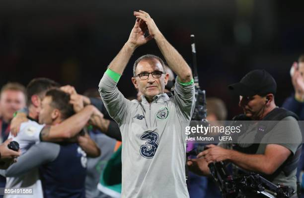 Republic of Ireland manager Martin O'Neill clebrates after the FIFA 2018 World Cup Qualifier between Wales and Republic of Ireland at Cardiff City...