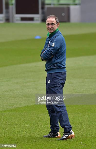 Republic of Ireland manager Martin O'Neill during an open training session at Aviva Stadium on June 3 2015 in Dublin Ireland The Republic of Ireland...