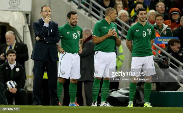 Republic of Ireland manager Martin O'Neill with substitutes Andy Reid Jon Walters and Shane Long at the International Friendly at the Aviva Stadium...
