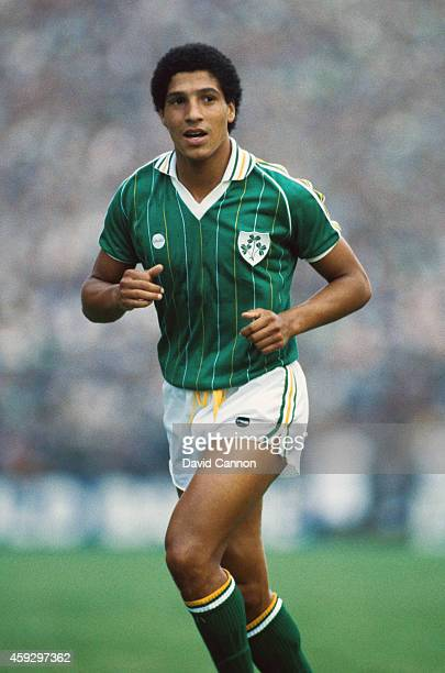 Republic of Ireland player Chris Hughton in action during a World Cup Qualifier at Landsdowne Road between Eire and USSR in September 1984 in Dublin...