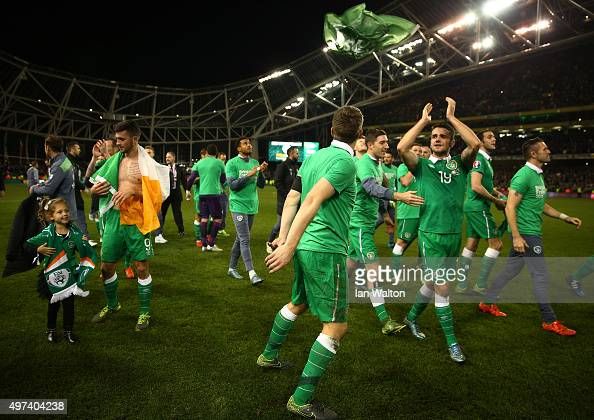 Republic of Ireland players celebrate their 20 victory and qualification during the UEFA EURO 2016 Qualifier play off second leg match between...