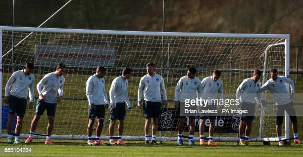 Republic of Ireland players during a training session at Gannon Park Malahide Ireland
