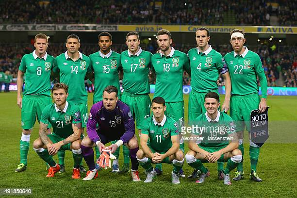 Republic of Ireland pose for a team photo during the UEFA EURO 2016 Qualifier group D match between Republic of Ireland and Germany at the Aviva...