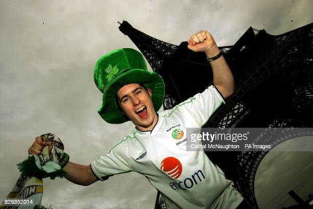 Republic of Ireland supporter Kevin O'Dwyer under the Eiffel Tower ahead of the Republics World Cup clash with France at the Stade de France on...