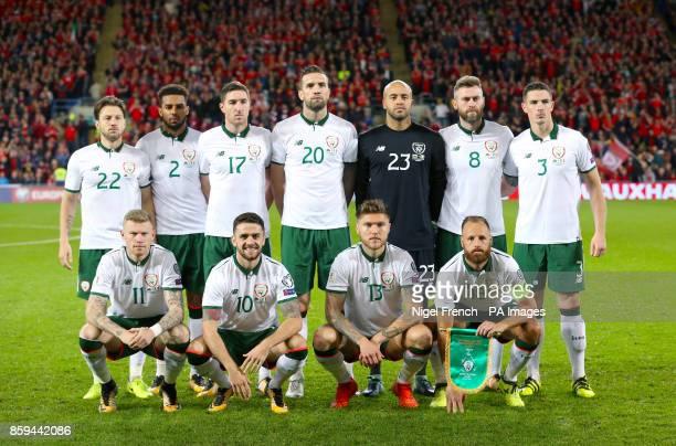 Republic of Ireland team group shot Top Row Harry Arter Cyrus Christie Stephen Ward Shane Duffy Darren Randolph Daryl Murphy and Ciaran Clark Bottom...