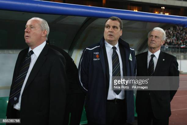 Republic of Ireland's assistant manager Marco Tardelli stands during national Anthem with manager Giovanni Trapattoni and coach Liam Brady before the...