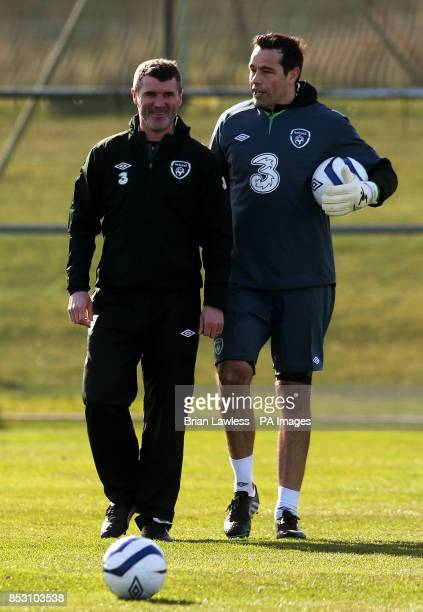 Republic of Ireland's assistant manager Roy Keane with David Forde during a training session at Gannon Park Malahide Ireland