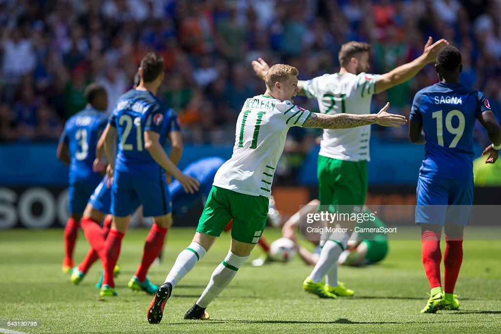 Republic of Ireland's <a gi-track='captionPersonalityLinkClicked' href=/galleries/search?phrase=James+McClean&family=editorial&specificpeople=3699424 ng-click='$event.stopPropagation()'>James McClean</a> appeals for a penalty (given) during the UEFA Euro 2016 Round of 16 match between France v Republic of Ireland at Stade de Lyon on June 26 in Lyon, France.