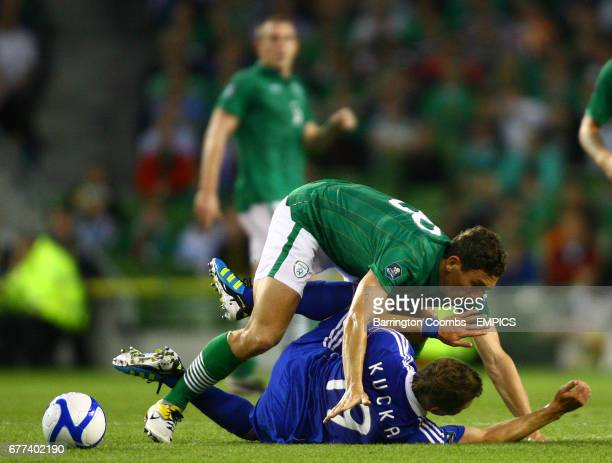 Republic of Ireland's Keith Andrews and Juraj Kucka