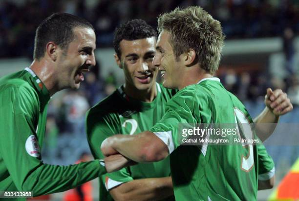 Republic of Irelands Kevin Doyle celebrates after scoring with team mates during the UEFA European Championship Qualifying match at Slovan Stadium...