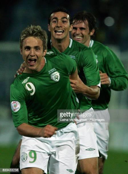 Republic of Ireland's Kevin Doyle celebrates scoring during the UEFA European Championship Qualifying match at Slovan Stadium Bratislava Slovakia