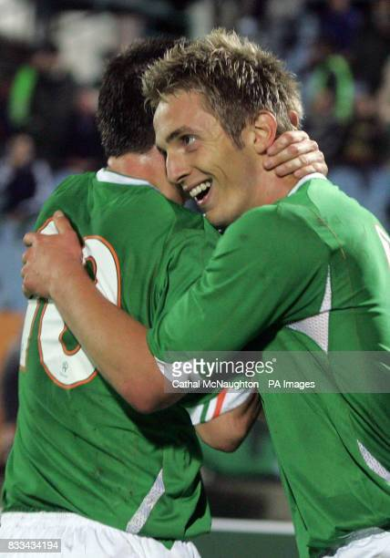 Republic of Ireland's Kevin Doyle celebrates scoring during the UEFA European Championship Qualifying match at Slovan Stadium Bratislava Slovakia