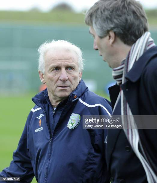 Republic of Ireland's manager Giovanni Trapattoni and FAI CEO John Delaney during a training session at Gannon Park Malahide Ireland