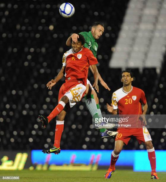 Republic of Ireland's Marc Wilson and Oman's Raed Saleh battle for the ball during the International Friendly at Craven Cottage London