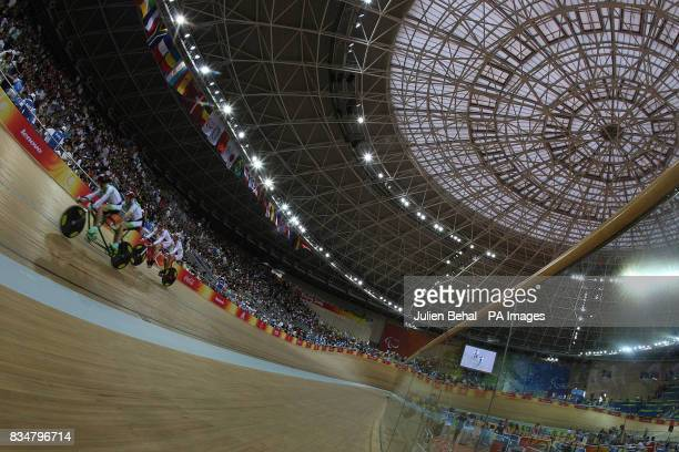 Republic of Ireland's Michale Delaney and David Peelo in the mens sprint BVI in the Laoshan Velodrome at the Beijing Paralympic Games 2008 China