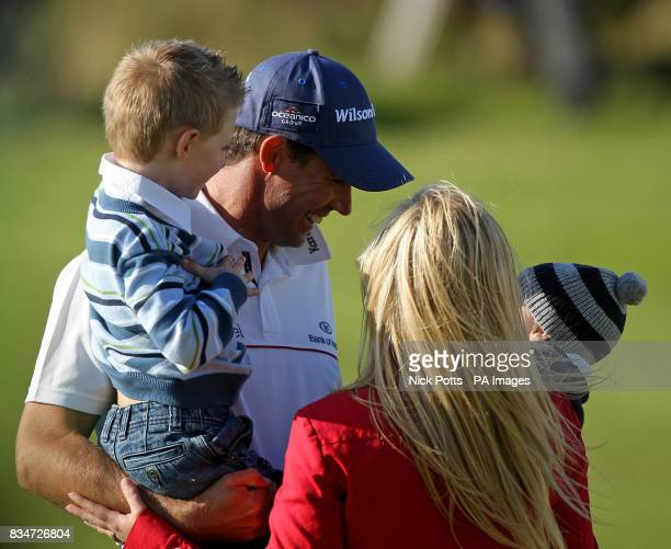 Republic of Ireland's Padraig Harrington and sons Patrick and Ciaran and wife Caroline after Round Four of the Open Championship at the Royal...