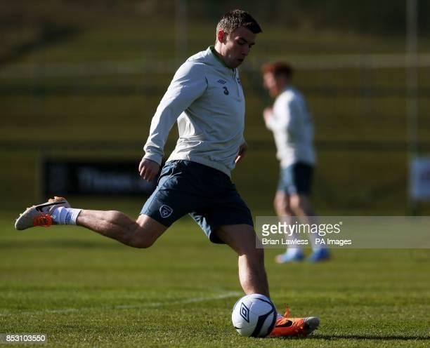 Republic of Ireland's Seamus Coleman during a training session at Gannon Park Malahide Ireland