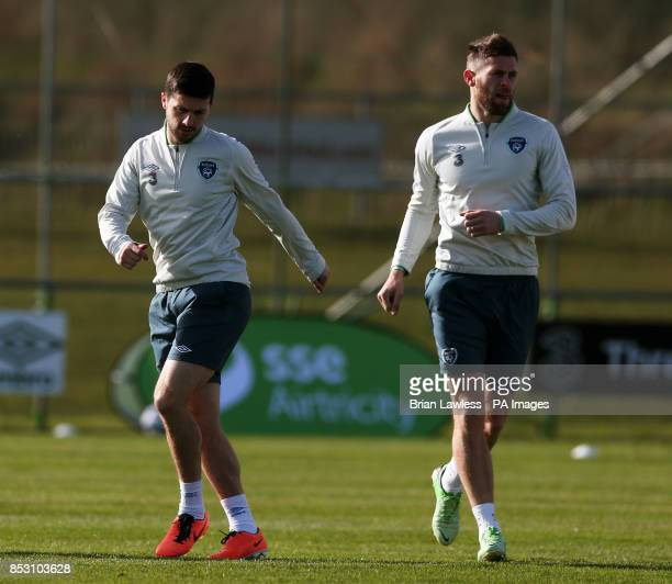 Republic of Ireland's Shane Long and Daryl Murphy during a training session at Gannon Park Malahide Ireland