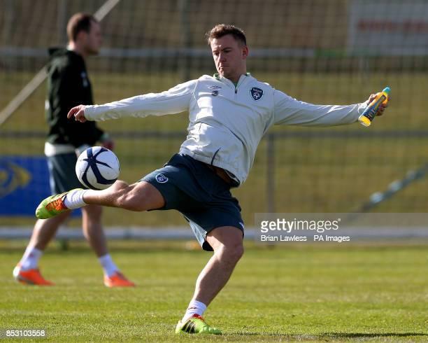 Republic of Ireland's Simon Cox during a training session at Gannon Park Malahide Ireland