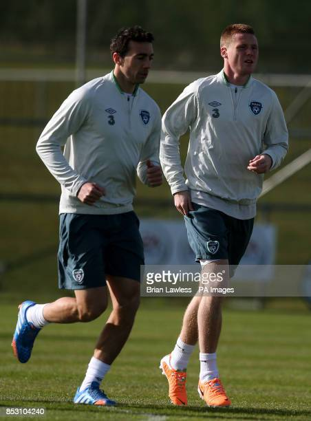 Republic of Ireland's Stephen Kelly and James McCarthy during a training session at Gannon Park Malahide Ireland