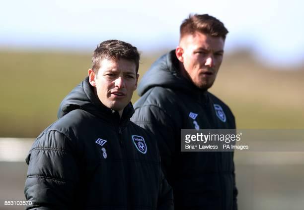 Republic of Ireland's Wes Hoolahan and Anthony Pilkington during a training session at Gannon Park Malahide Ireland