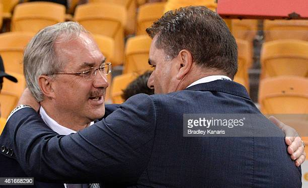 Republic of Korea team Coach Ulrich Stielike and Coach Ange Postecoglou of Australia wish each other luck before the 2015 Asian Cup match between...