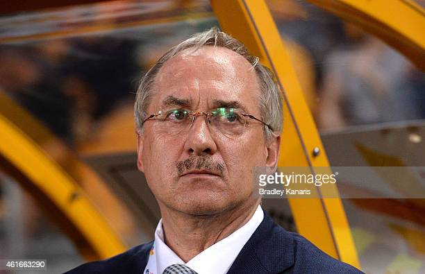 Republic of Korea team Coach Ulrich Stielike watches on during the 2015 Asian Cup match between Australia and Korea Republic at Suncorp Stadium on...