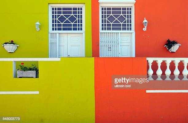 Republic of South Africa Kapstadt Cape Town Bo Kaap district houses in green and orange