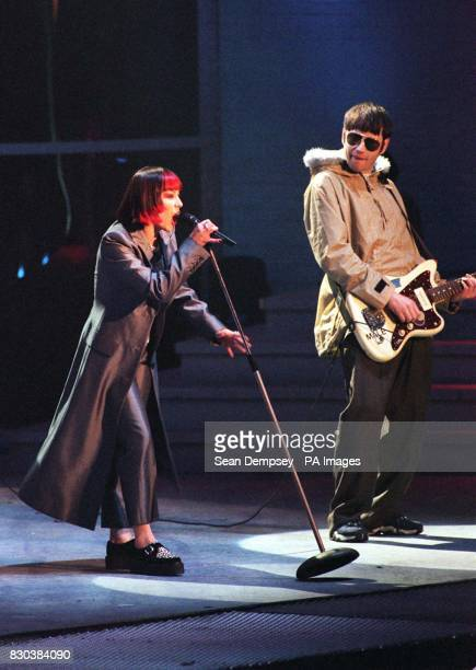 Republica lead singer Saffron performs during the Smash Hits Poll Winners' Party at the London Arena