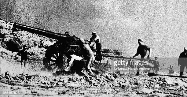 Republican artillery in action at Teruel during the Spanish Civil War The combatants fought the battle between December 1937 and February 1938 during...