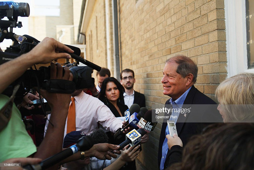 Republican Bob Turner who is running for U.S. Congress in a race in New York's heavily Democratic 9th District speaks with the media at a polling station on September 13, 2011 in New York City. Turner is running against Democratic Assemblyman David Weprin to succeed former U.S. Rep. Anthony Weiner (D-NY) who resigned in June after admitting he sent partially nude photos of himself to women via the Internet. The race has received strong media attention as it is being viewed as a possible bellwether of support for U.S. President Barack Obama.