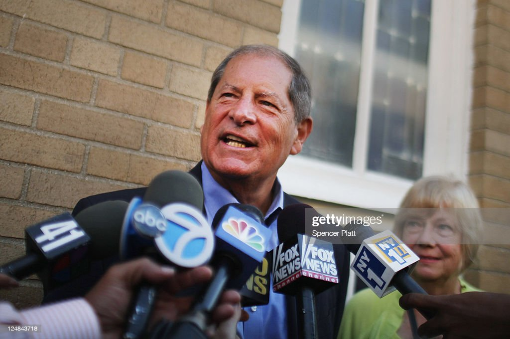 Republican Bob Turner, who is running for U.S. Congress in a race in New York's heavily Democratic 9th District, speaks with the media at a polling station on September 13, 2011 in New York City. Turner is running against Democratic Assemblyman David Weprin to succeed former U.S. Rep. Anthony Weiner (D-NY) who resigned in June after admitting he sent partially nude photos of himself to women via the Internet. The race has received strong media attention as it is being viewed as a possible bellwether of support for U.S. President Barack Obama.