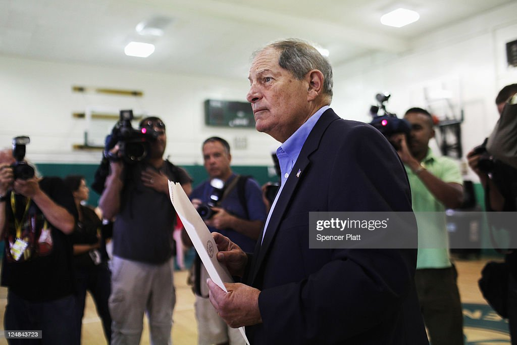 Republican Bob Turner, who is running for U.S. Congress in a race in New York's heavily Democratic 9th District, prepares to vote at a polling station on September 13, 2011 in New York City. Turner is running against Democratic Assemblyman David Weprin to succeed former U.S. Rep. Anthony Weiner (D-NY) who resigned in June after admitting he sent partially nude photos of himself to women via the Internet. The race has received strong media attention as it is being viewed as a possible bellwether of support for U.S. President Barack Obama.