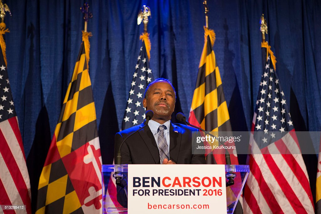 Republican candidate Dr Ben Carson speaks to supporters at his campaign at his Super Tuesday election party at the Grand Hotel on March 1 2016 in...