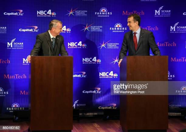 Republican candidate Ed Gillespie left and Lt Gov Ralph Northam Democrat greet each other before the start of the Gubernatorial debate on September...