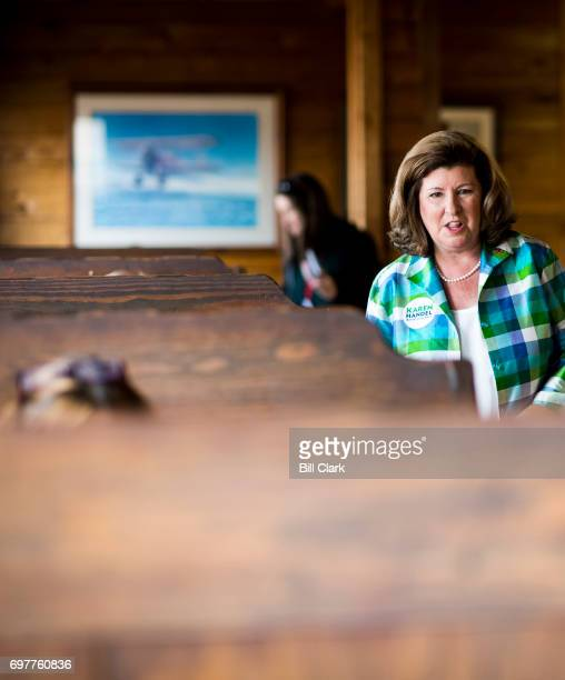 Republican candidate for Georgia's 6th Congressional district Karen Handel visits with diners at the Old Hickory House in Tucker Ga on the final day...