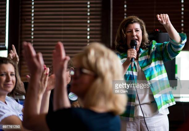 Republican candidate for Georgia's 6th Congressional district Karen Handel speaks to supporters at the Cherokee Cattle Ranch restaurant in Marietta...