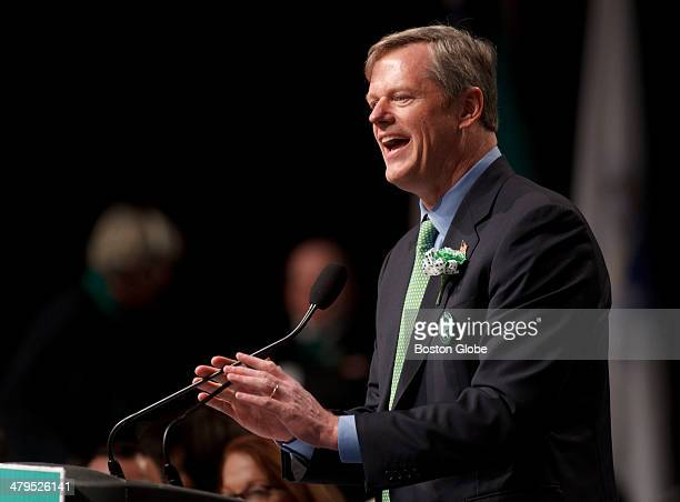 Republican candidate for governor Charlie Baker spoke during the Annual South Boston St Patrick's Day Breakfast on Sunday March 16 2014 at the Boston...