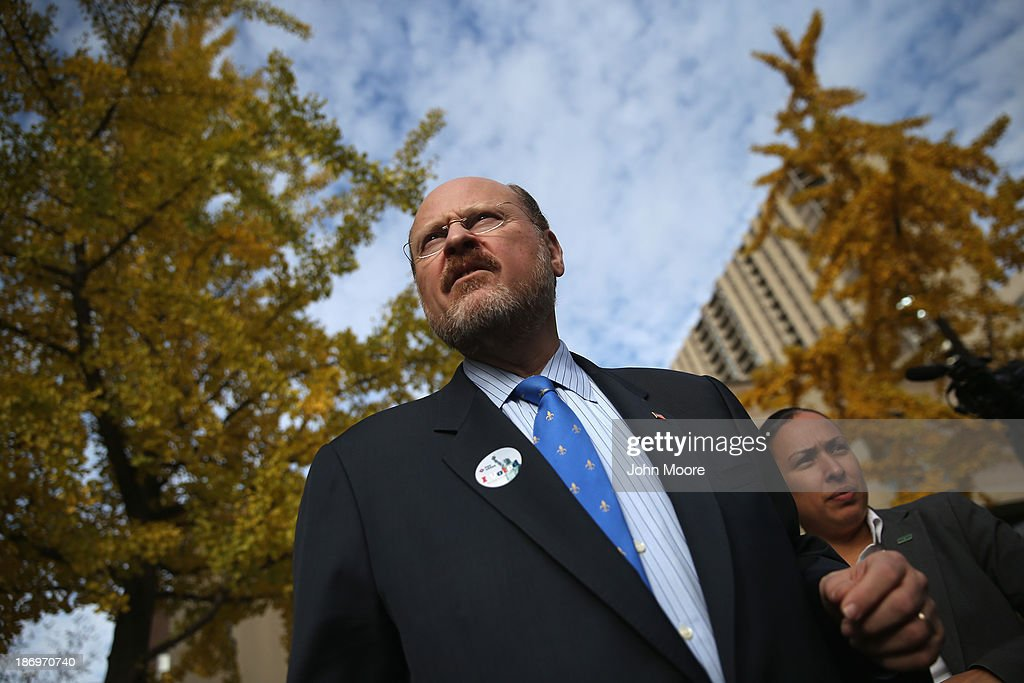 Republican candidate for New York City mayor <a gi-track='captionPersonalityLinkClicked' href=/galleries/search?phrase=Joe+Lhota&family=editorial&specificpeople=10110154 ng-click='$event.stopPropagation()'>Joe Lhota</a> leaves a polling station after casting his vote on November 5, 2013 in the Brooklyn borough of New York City. New Yorkers went to the polls to choose between Lhota and Democratic candidate Bill de Blasio, widely considered the favorite going into election day.