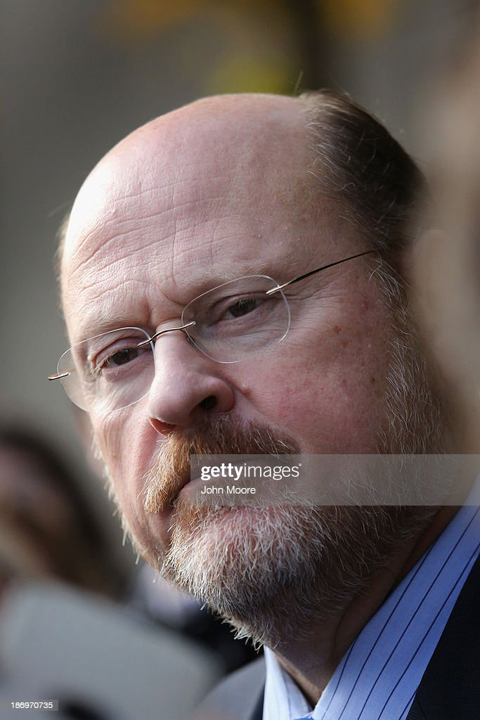 Republican candidate for New York City mayor <a gi-track='captionPersonalityLinkClicked' href=/galleries/search?phrase=Joe+Lhota&family=editorial&specificpeople=10110154 ng-click='$event.stopPropagation()'>Joe Lhota</a> speaks to reporters after casting his vote on November 5, 2013 in the Brooklyn borough of New York City. New Yorkers went to the polls to choose between Lhota and Democratic candidate Bill de Blasio, widely considered the favorite going into election day.
