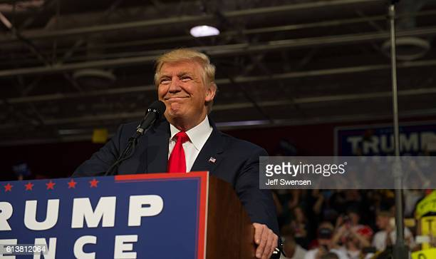 Republican candidate for President Donald J Trump speaks to supporters at a rally at Ambridge Area Senior High School on October 10 2016 in Ambridge...