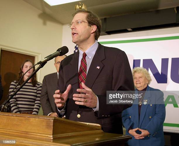 Republican candidate for the US Senate New Hampshire Congressman John Sununu speaks to supporters at a political rally that featured former New York...
