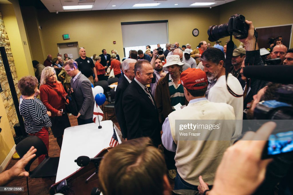 Republican candidate for U.S. Senate Judge Roy Moore appears at a mid-Alabama Republican Club's Veterans Day event on November 11, 2017 in Vestavia Hills, Alabama. This week Moore's campaign was brought under scrutiny, after being accused of sexual misconduct with underage girls when he was in his 30's.