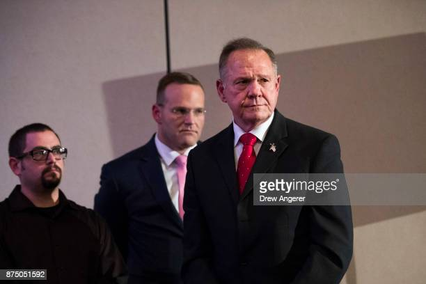 Republican candidate for US Senate Judge Roy Moore listens to a question during a news conference with supporters and faith leaders November 16 2017...